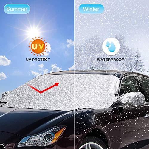Josechan Frontscheibenabdeckung 158x120cm mit Seitenspiegel-Abdeckung Autoscheibenabdeckung Sonnenschutz Faltbare Abnehmbare