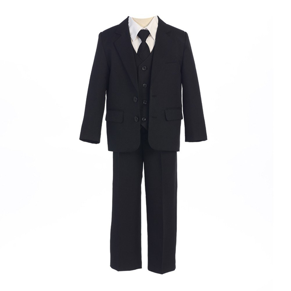Sweet Kids Big Boys Black Button Jacket Vest Shirt Tie Pant Suit 8-20 Husky