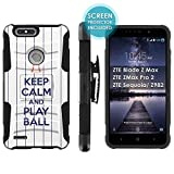 zte zmax phone cases new york - [Mobiflare] Armor Case for ZTE Blade Zmax Pro 2/ZTE Sequoia [Black/Black] Blitz Armor Phone Case with Holster [Screen Protector INCLUDED] - [Play Ball - N.Y. City]
