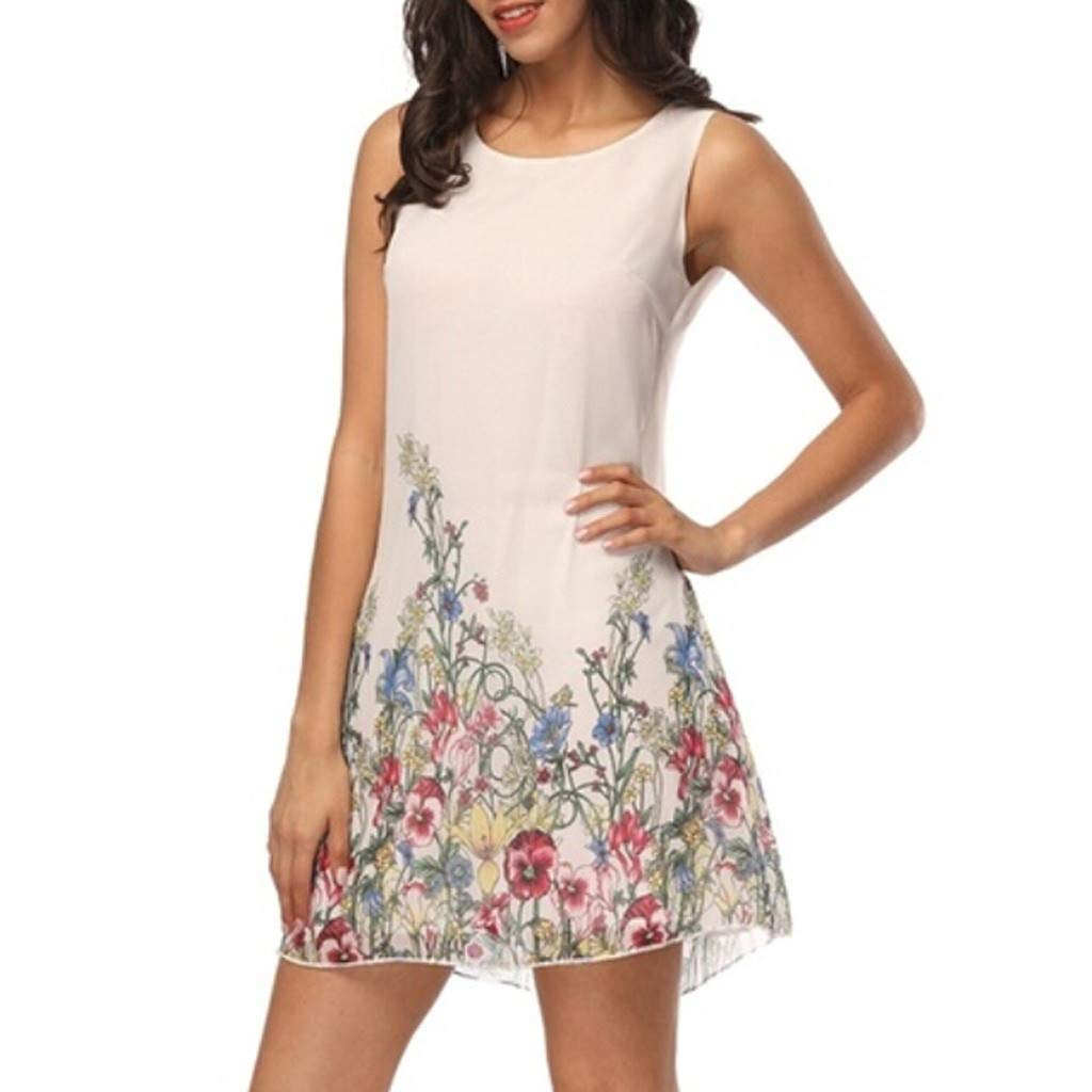 Forthery-Women Beach Dress Summer Floral Print Sleeveless Swing Mini Dress Sundress(White,US Size L = Tag XL)