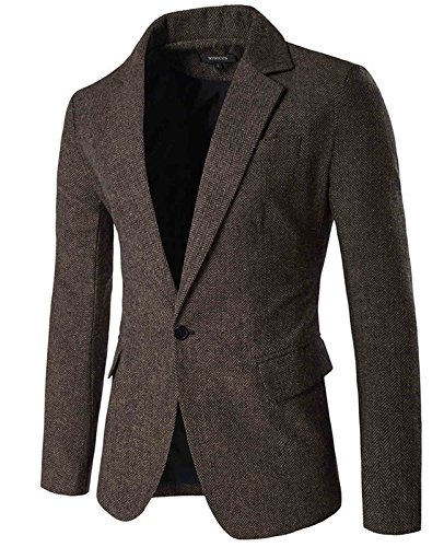 Nidicus Mens Herringbone Fit British Style Blazer One Button Sport Coat Coffee L
