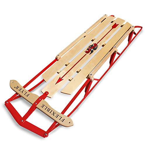 Flexible Flyer Large Steel Runner Sled. Metal & Wood Steering Snow Slider. Adult 60