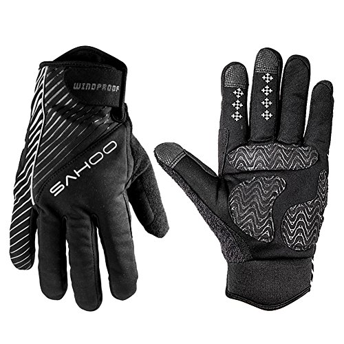 Yougeyu Winter Windproof Warm Gloves Breathable Wearable Touch Recognition Full Finger Mountain Bike Gloves for Cycling Driving Exercise and Other Outdoor Activities Black M