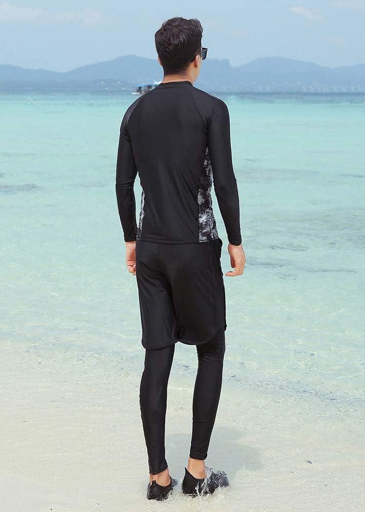 Costume de plongée, Couple Hommes et Femmes Conservateur Une pièce à Manches Longues Maillot de Bain Bikini male