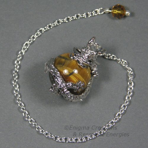 Sphere Swarovski Faceted Crystal (Tiger's Eye Dragon Sphere Crystal Pendulum, w/ Czech Crystal Finger Grip, SSP17)