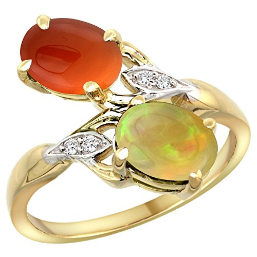 14k Yellow Gold Diamond Natural Brown Agate & Ethiopian Opal 2-stone Mothers Ring Oval 8x6mm, size 10