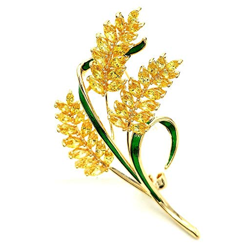 DREAMLANDSALES Harvest Vintage Green Enamel Leaf Bundle of Wheat Brooches Pins Gold Tone