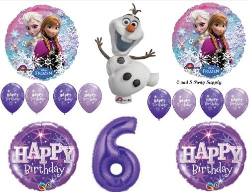 (Frozen Olaf Purple 6th Disney Movie BIRTHDAY PARTY Balloons Decorations)