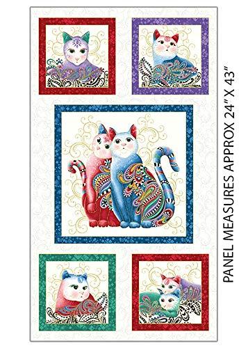 Novelty Quilting, Sewing Fabric - Novelty - Cat-I-Tude 2 - Cat Blocks - White
