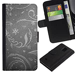 Billetera de Cuero Caso Titular de la tarjeta Carcasa Funda para Samsung Galaxy S5 Mini, SM-G800, NOT S5 REGULAR! / Floral Wallpaper Grey Gray Silver Retro Vintage / STRONG