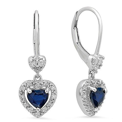 (10K White Gold Heart Cut Blue Sapphire & Round White Diamond Ladies Heart Dangling Drop Earrings)