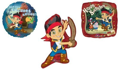 (JAKE and the Never Land Pirates (3) Piece Birthday Party Mylar Foil Balloons by Lgp)