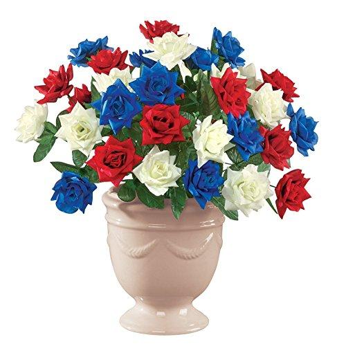 Patriotic Americana Artificial Maintenance-Free Bouquet Bush - Set of 3