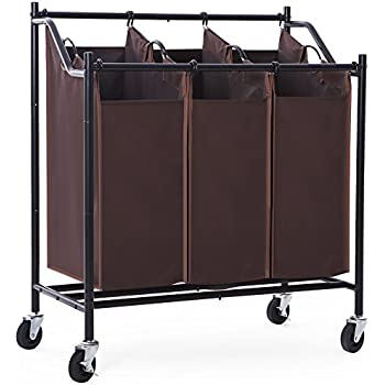 Amazon Com Songmics 4 Bag Rolling Laundry Sorter Cart