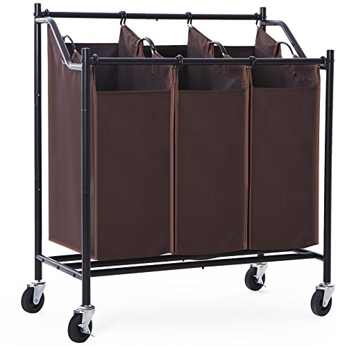 SONGMICS 3-Bag Laundry Sorter with Wheels Heavy Duty Laundry Hamper 3 Section Brown URLS70Z
