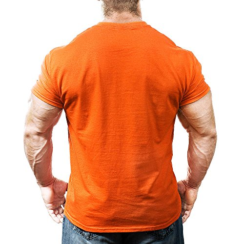 Monsta Clothing Co. Men's Pain is Fuel: Train On. T-shirt Medium Orange