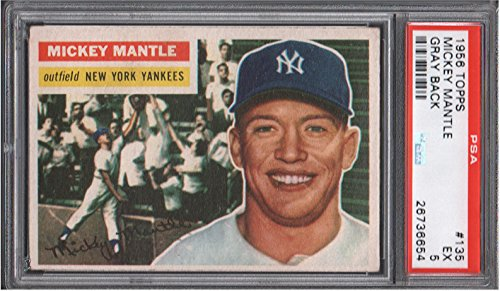 1956 Topps Regular (Baseball) Card# 135 Mickey Mantle (psa) of the New York Yankees Ex Condition