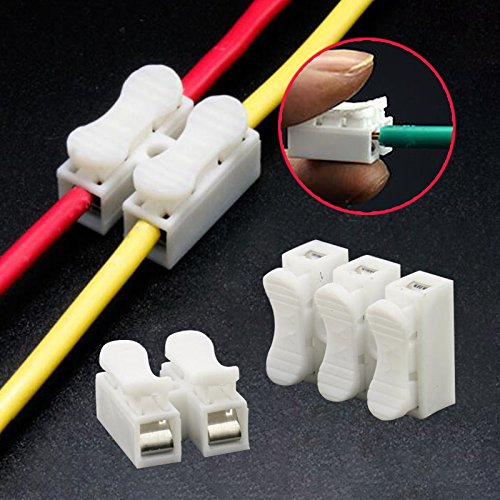 Sedeta 30PCS x 2P Spring Wire Connectors Electrical Cable Clamp Terminal Block Connector LED Strip Light Wire