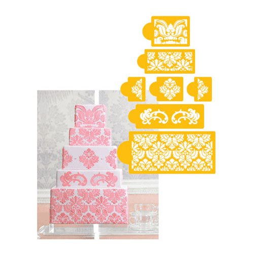 Designer Stencils Designer Decorating Stencil Damask Cake 5-Tier Set