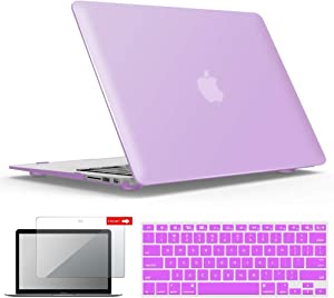 IBENZER MacBook Air 11 Inch Case Model A1370 A1465, Soft Touch Plastic Hard Shell Case Bundle with Keyboard Cover & Screen Protector for Apple Laptop Mac Air 11, Purple, A11PU+2A