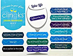 Clingks 12 Drink Markers - LAKE LIFE - Fun Alternative to Wine Charms