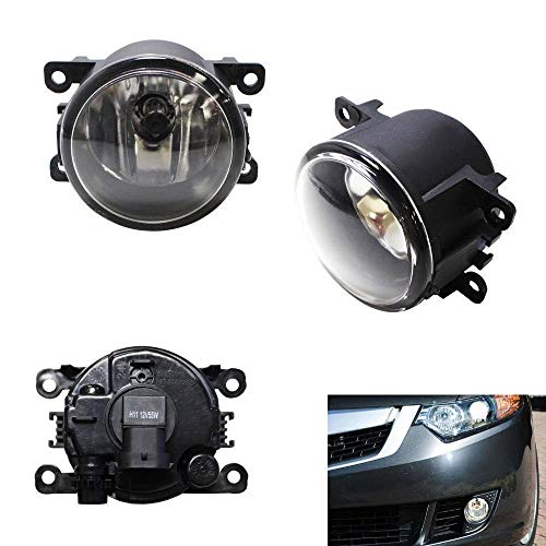 iJDMTOY A Pair Driver Passenger Sides Fog Light Lamps with H11 Halogen Bulbs For Acura Honda Ford Nissan Subaru Suzuki, - Driving Plastic Housing Lights