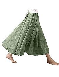 Dressin Vestido Largo para Mujer, Estilo Bohemio, Cintura elástica, Lino y algodón, Maxi Falda