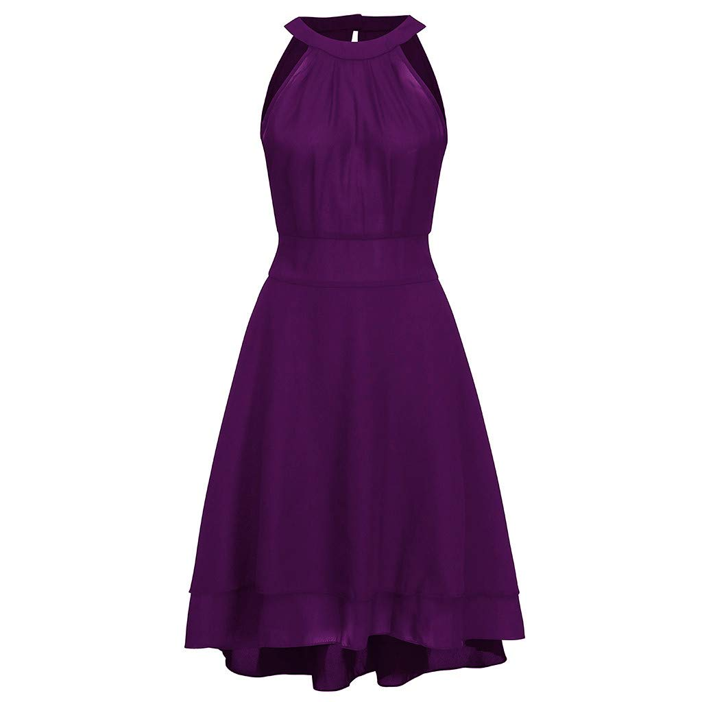 Nmch Summer Plus Size Dress Women's Sexy Chiffon Sleeveless Flare Halter Party Cocktail Dress Solid Swing Dress(Purple,XL)