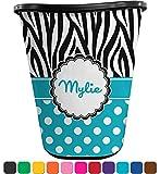 RNK Shops Dots & Zebra Waste Basket - Single Sided (Black) (Personalized)