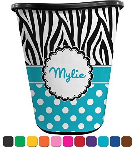 RNK Shops Dots & Zebra Waste Basket - Single Sided (Black) (Personalized) by RNK Shops