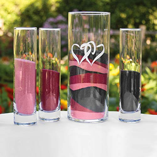 5pk Linked Hearts Sand Ceremony 4-Piece Blank-Unity Candles & Stands