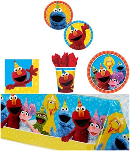 ONE STOP Elmo Sesame Street Birthday Party Supplies Pack Bundle Kit Including Dinner Plates, Dessert Plates, Cups, Napkins and Tablecover - 8 Guests -