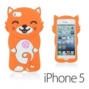 OnlineBestDigital - Cat Style Soft Silicone Case for Apple iPhone 5S / Apple iPhone 5 - Orange