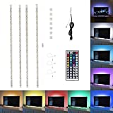 Yeahplus LED TV Backlight Kit,Multi Color RGB 4pcs Led Strip Light Home Theater lighting Kit for Desktop PC, Flat Screen TV LCD(Backlight+ USB Port)