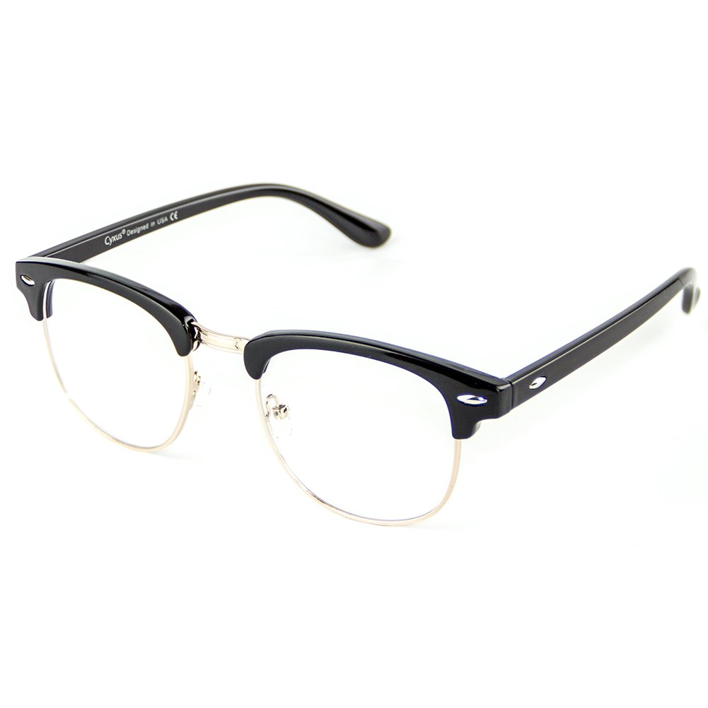 Cyxus Blue Light Filter Semi-Rimless Glasses, [Transparent Lens] Anti Digital Eyestrain Reduce Headache Computer Reading Glasses (Balck)