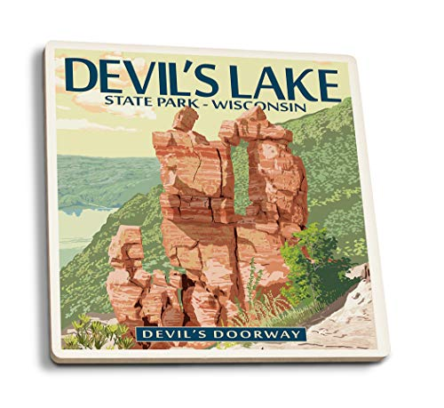 Lantern Press Devil's Lake Park, Wisconsin - Devil's Doorway (Set of 4 Ceramic Coasters - Cork-Backed, Absorbent) ()
