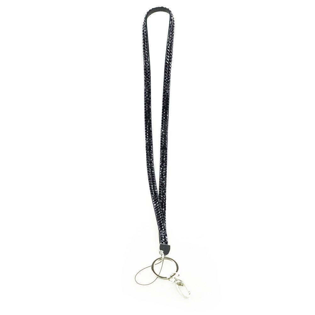 Hilai Nuovo cordino porta badge nero strass chiave da collo Fashion
