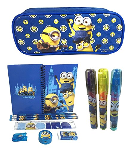 """New Minions """"Le Buddies"""" School Pencil Pouch + Stationery + Eraser Set for Kids"""