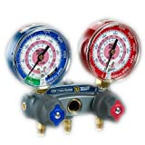 Kyпить Yellow Jacket 49867 Titan 2-Valve Test and Charging Manifold degrees F, psi Scale, R-22/404A/410A Refrigerant, Red/Blue Gauges на Amazon.com
