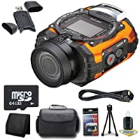 Ricoh WG-M1 14MP CMOS Action Camera (Orange) + 64GB microSD Class 10 Memory Card + Carrying Case + Micro HDMI Cable + SDHC Card USB Reader + Memory Card Wallet + Deluxe Starter Kit  DavisMAX Bundle