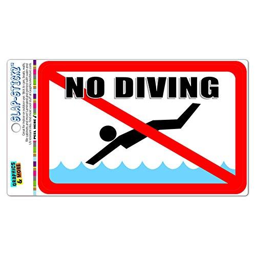 - No Diving - Pool Area SLAP-STICKZ(TM) Premium Laminated Sticker Sign