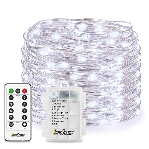 Homestarry 66 LED Mini Battery String Lights, 16 Feet, Cool White