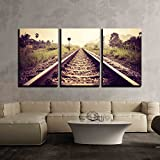 wall26 - 3 Piece Canvas Wall Art - vintage railroad - Modern Home Decor Stretched and Framed Ready to Hang - 24''x36''x3 Panels