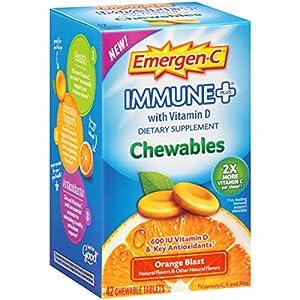 Emergen C Immune+ Chewables (42 Count, Orange Blast Flavor) Immune System Support Dietary Supplement Tablet With 600 IU Vitamin D, 1000mg Vitamin C
