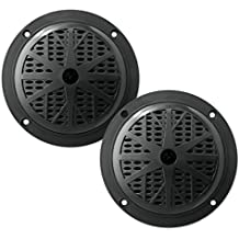 5.25 Inch Dual Marine Speakers - 2 Way Waterproof and Weather Resistant Outdoor Audio Stereo Sound System with 100 Watt Power, Polypropylene Cone and Cloth Surround - 1 Pair - PLMR51W (White)