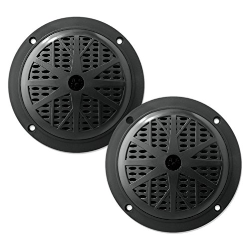 Pyle PLMR51B Dual 5.25'' Waterproof Marine Speakers, 2-Way Full Range Stereo Sound, 100 Watt, Black (Pair)