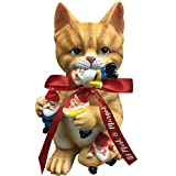 by Mark & Margot - Mischievous Cat Garden Gnome Statue Figurine - Best Art Décor for Indoor Outdoor Home Or Office (Orange)