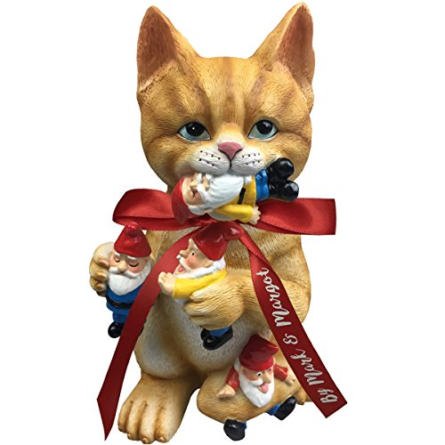 by Mark & Margot - Mischievous Cat Garden Gnome Statue Figurine - Best Art Décor for Indoor Outdoor Home Or Office (Orange) by Mischievous Cat Massacre