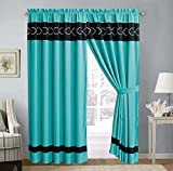 GrandLinen 4 Piece Teal Blue/Grey/Black Embroidery Microfiber Curtain Set 108 inch Wide X 84 inch Long (2 window panels, 2 ties) Review