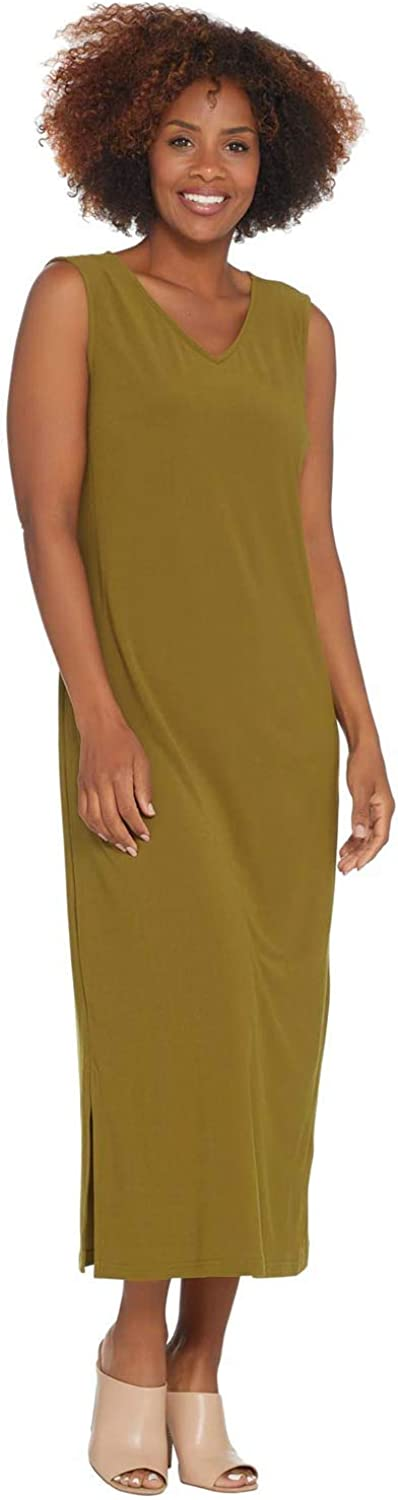Linea by Louis Dell'Olio Womens Petite Moss Crepe Tank Dress M Olive A306409